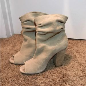 Tan Open Toed Nine West Booties